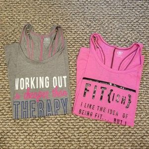 Two racerback athletic tops grey pink sz XL 16 18